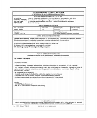 officer developmental counseling form example