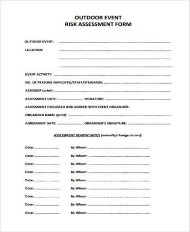 outdoor event risk assessment form