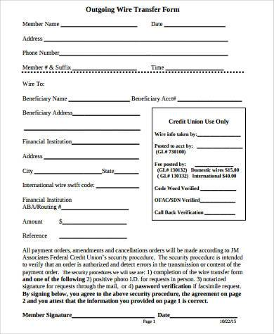 outgoing wire transfer form