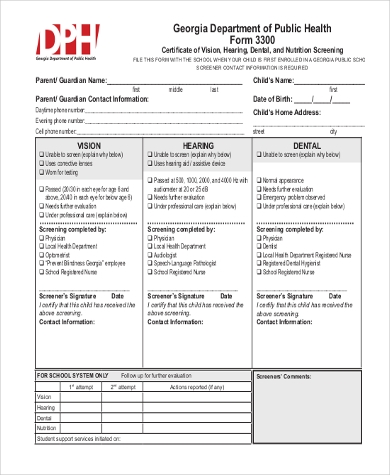 physical and dental examination form