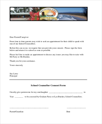 parent consent form for school counselling