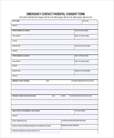 parent emergency consent form