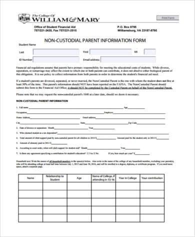 parent information form example