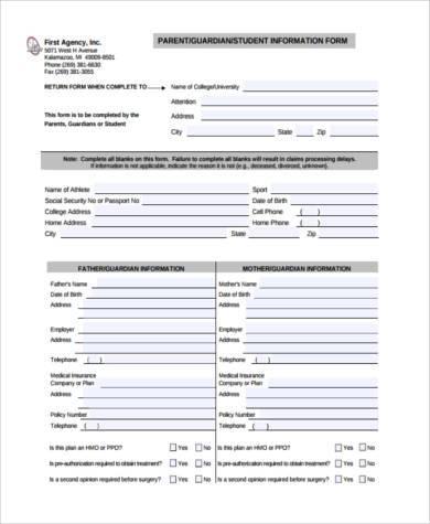 parent information form in pdf