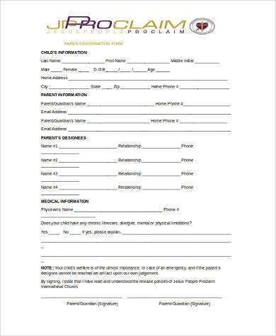 parent information form in word format