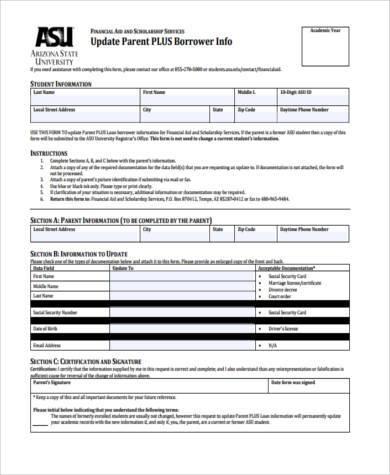 parent information update form