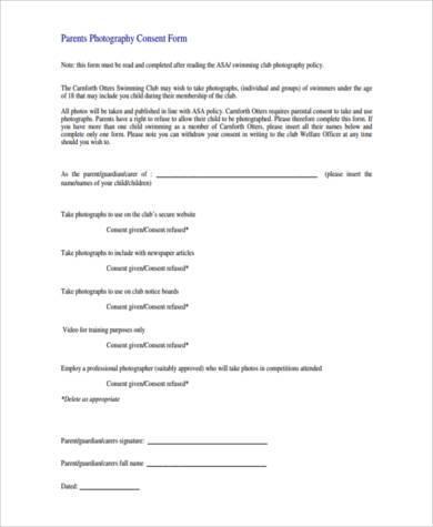parent photo consent form