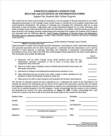 parent release of information form