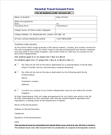 Parent Travel Consent Form