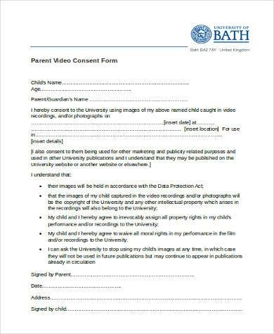 parent video consent form