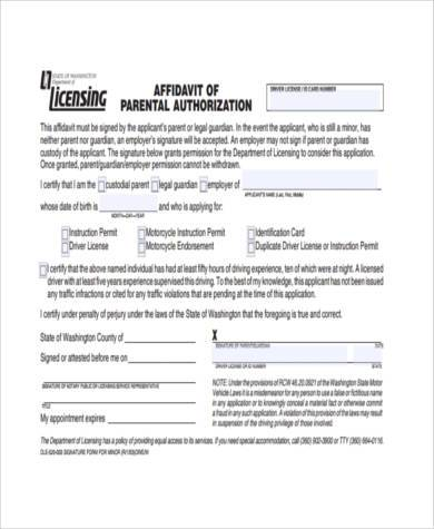 parental authorization affidavit form