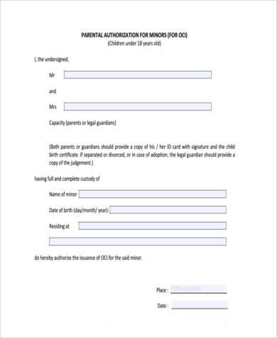 parental authorization form for minors