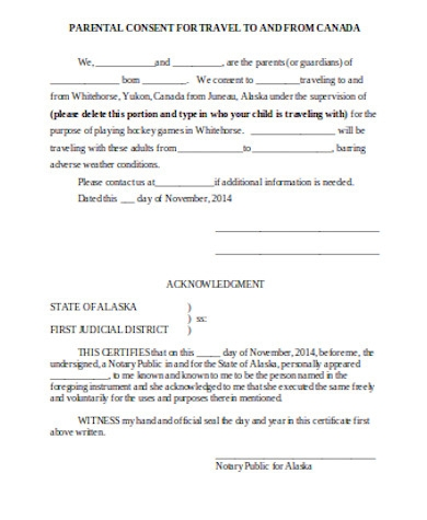 parental consent for travel form