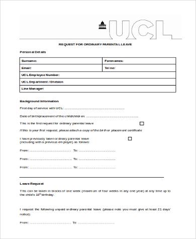 parental leave request form