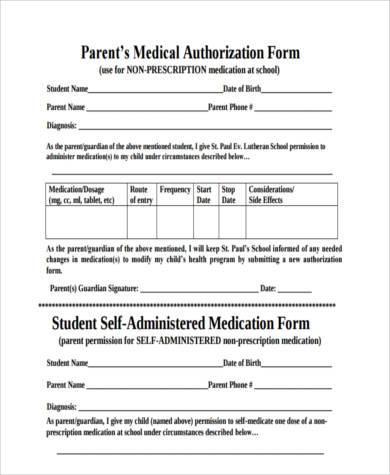 parental medical authorization form