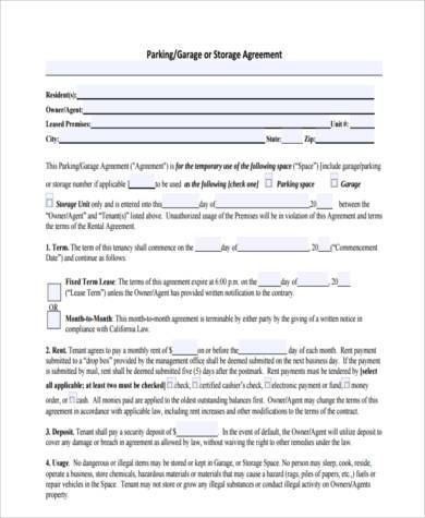 parking agreement form example