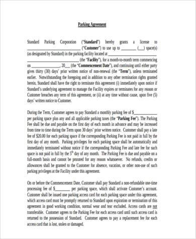 parking agreement form in pdf