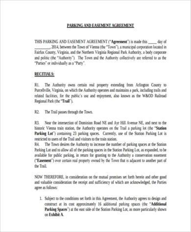 parking easement agreement form