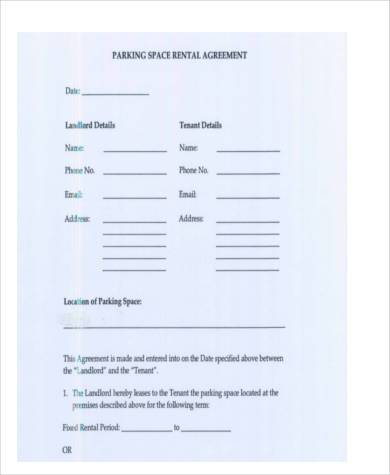 Sample Parking Agreement Forms   Free Documents In Word Pdf