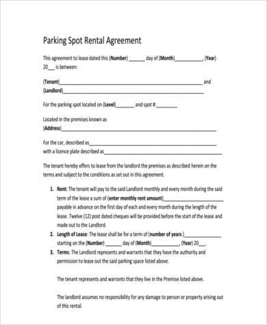 Sample Parking Agreement Forms - 9+ Free Documents In Word, Pdf