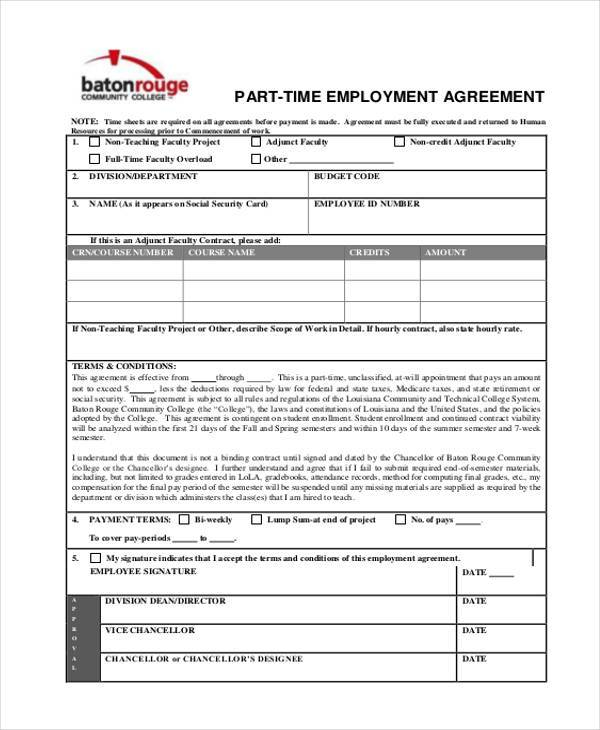 9 employment agreement samples free samples examples for Part time employment contract template free