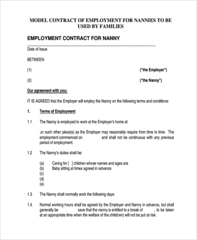 Sample Nanny Contract   Free Documents In Pdf