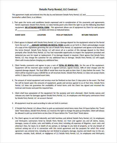party rental contract form