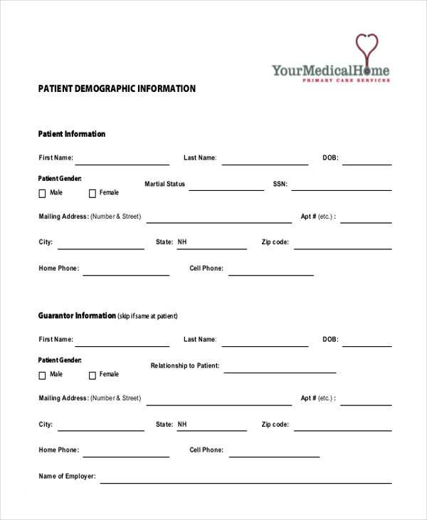patient demographic information form