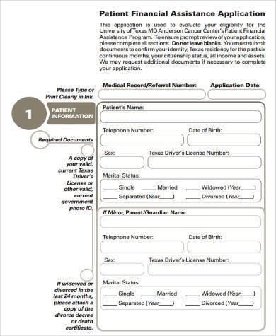 patient financial assistance application form