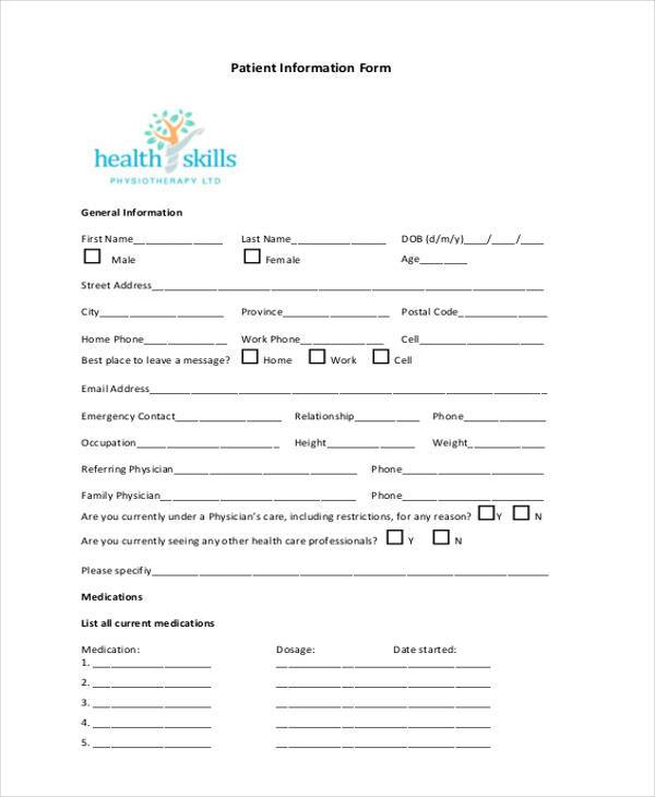 patient information form pdf