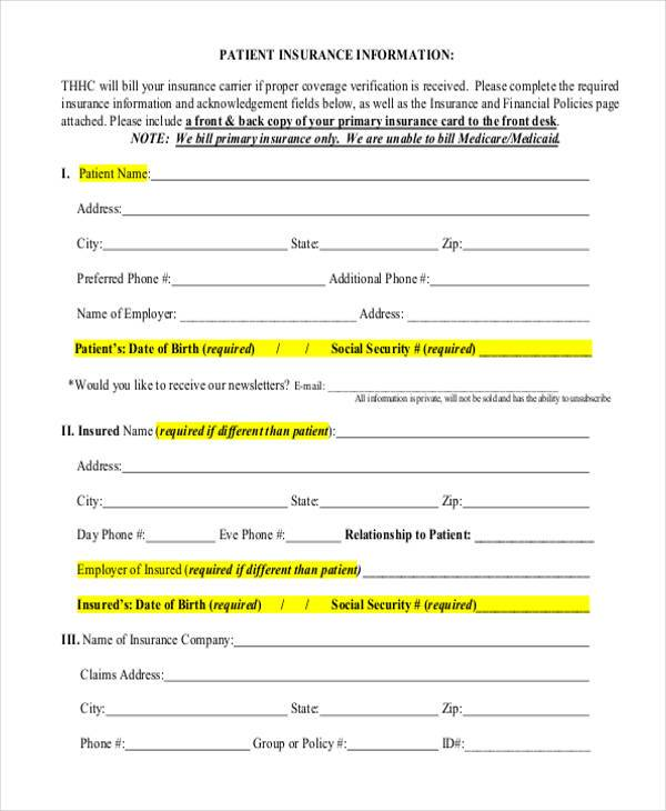 patient insurance information form