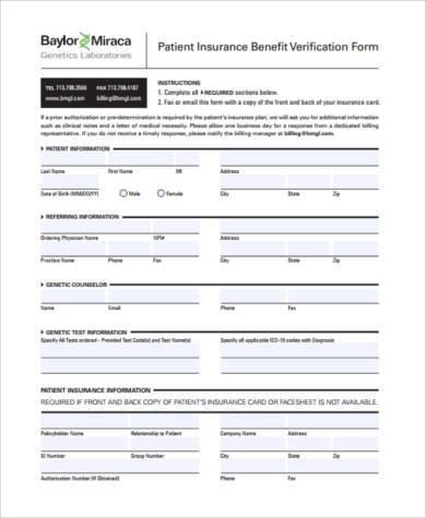 patient insurance verification form