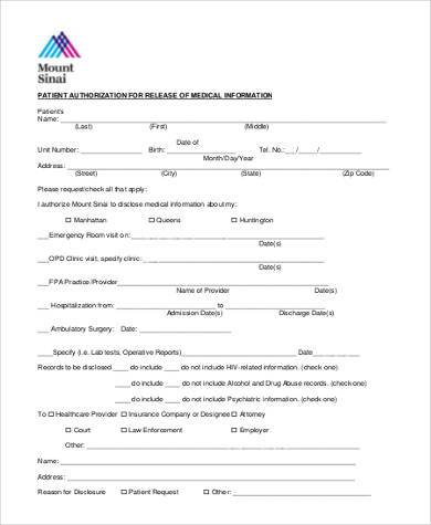 patient medical information release form