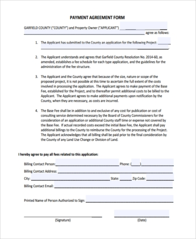 payment agreement contract form1