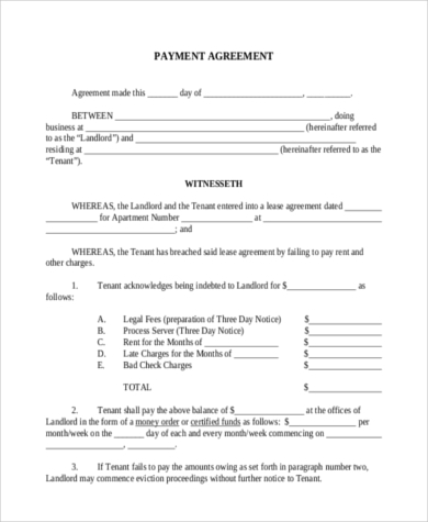 Exceptional Payment Agreement Form Pdf