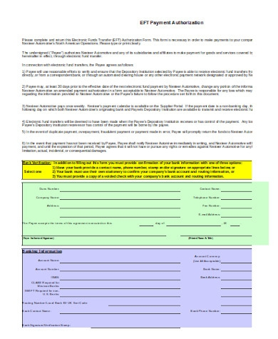 payment authorization form sample