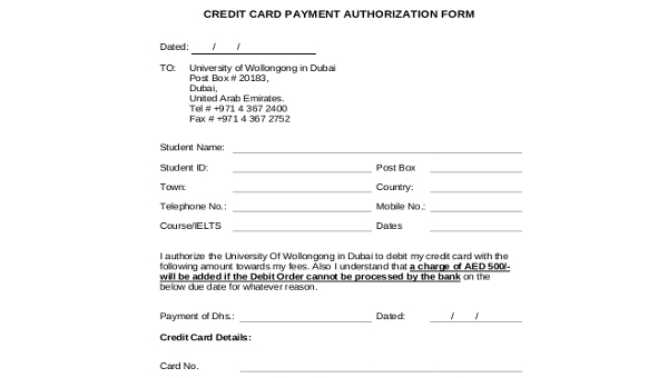 Free 8 Sample Payment Authorization Forms In Word Pdf