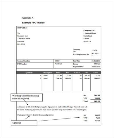 payment invoice form example