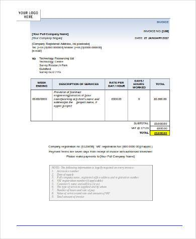 payment invoice form word format