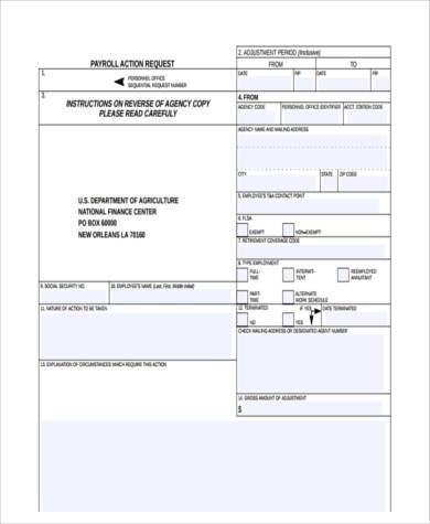 payroll action request form