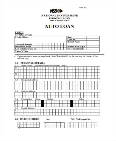 personal auto loan agreement form
