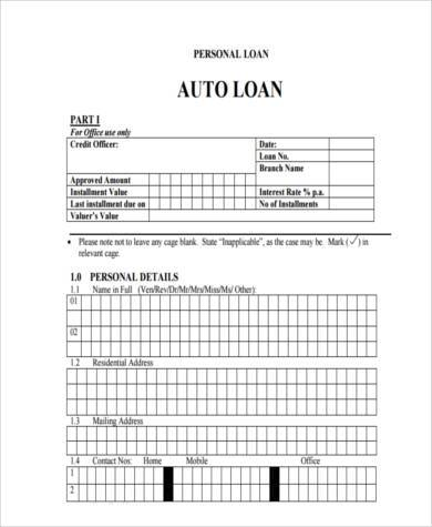 personal auto loan agreement form1