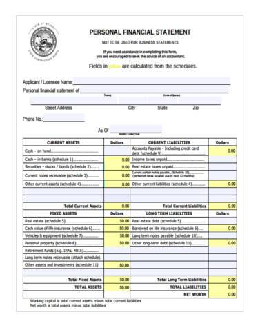 personal financial responsibility form