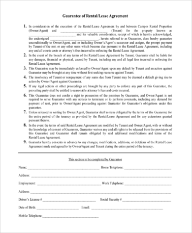 Personal Guarantee Lease Form