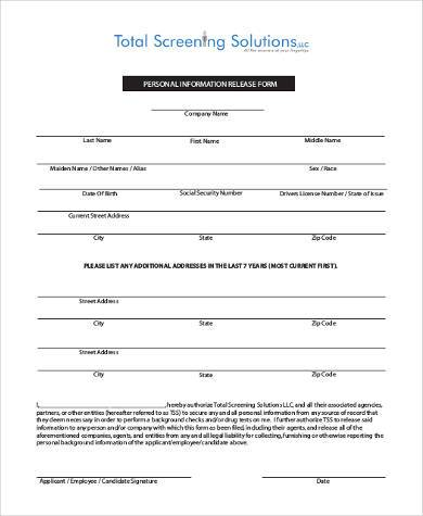 Perfect Personal Information Release Form