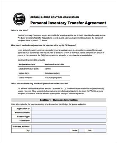 personal inventory transfer agreement form