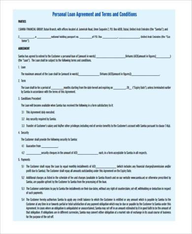 personal loan payment agreement form