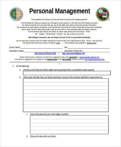 personal management sample budget plan