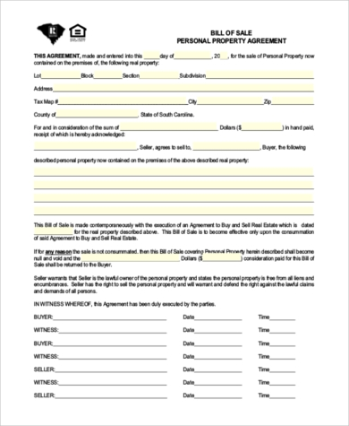 personal property bill of sale form