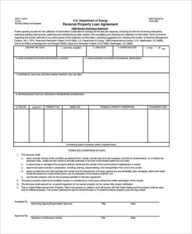 Personal Property Loan Agreement Form  Loan Agreement Form Free